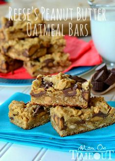 Reeses Peanut Butter Oatmeal Cookie Bars   MomOnTimeout.com
