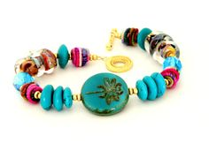 Dragonfly Beaded Bracelet Turquoise Dragonfly & by wildwomanbeads, $110.00
