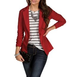 Red Business Blazer with stripes and jeans - Ideia para usar meu blazer roxo