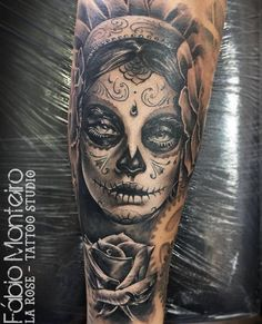 acac89b1edb3b rose tattoos girl tattoos sugar skull girl tattoo calavera tattoo ... Skull  Face Tattoo