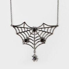 Pretty scary Halloween accessory: Spiderweb Pendant Necklace