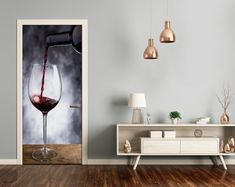3D Home Art Door Self Adhesive Removable Sticker Decal Food Red wine DS_356