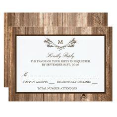 Shop Country Rustic Monogram Branch & Wood Wedding RSVP created by WeddingStore. Wedding Store, Wedding Rsvp, Wedding Sets, Trendy Wedding, Wedding Gowns, Monogram Wedding Invitations, Party Invitations, Invite, Wedding Postcard