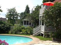 Rothwell Stone Cottage Annex - The pool is below your deck and we have two kayaks and one canoe for boating from our dock on the Upper Rideau. Westport Ontario, Annex, Kayaks, Boating, Deck, Cottage, Stone, Outdoor Decor, Rock