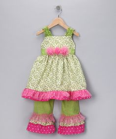 Haute Tot   Take a look at this Lime Damask Tunic & Pants - Toddler & Girls by Haute Tot on #zulily today!