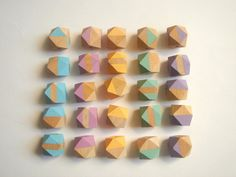 Pastel Geometric Mix Wood Beads,Hand Painted wood Beads, Summer Geometric Jewelry,Do it Yourself Geometric necklace