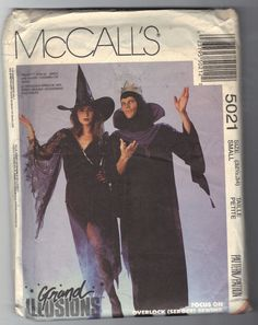 Vintage McCalls 5021 Sewing Pattern Grand Illusions Witch or Wizard Size Adults Unisex Small 32-1/2-34 Petite OOP
