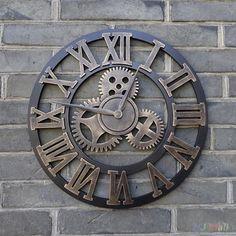 European Imitation-Wood Grain Modern Design Decorative Wall Clock
