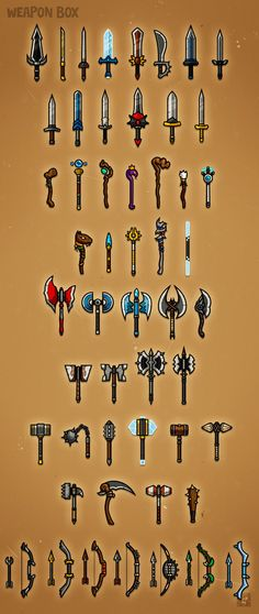 Weapon Box 1 - weapon designs for RPG class Game Concept, Concept Art, 2d Rpg, Vector Game, 2d Game Art, Pixel Games, Game Props, E Mc2, Clipart Design