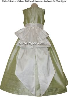 908301bef14 Summer Green and Antique White Flower Girl Dresses Style 345 Green Flower  Girl Dresses