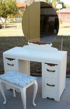 Beautifully refinished antique furniture -1940's/50's Art Deco Waterfall Vanity with American Paint Company chalk paint and Old Town Paint's Clear Matte Finish.