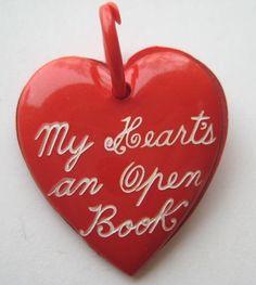 VINTAGE Celluloid Valentine's MY HEART'S AN OPEN BOOK Charm Pendant Locket