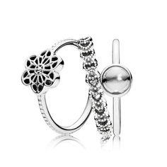 31bd76631982 PANDORA - Daisy Lace Ring Stack Online UK Encantos Pandora Baratos
