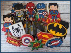Super Hero Handmade and Decorated Sugar Cookies ~ Batman, Superman, Spiderman, Captain America on Etsy, $48.00