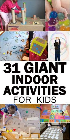 GIANT Indoor Activities for Kids Here is a GIGANTIC list of GIANT indoor kids activities to do with your toddler or preschooler indoors. From letters to sensory to art and more. games for toddlers Indoor Activities For Toddlers, Gross Motor Activities, Preschool Activities, Infant Activities, Rainy Day Activities For Kids, Kids Fun, Indoor Games For Kids, Quiet Toddler Activities, Therapy Activities