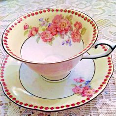 SCHUMANN Dresden Bavaria Dec No 4 Pink Floral Footed Tea Cup and Saucer - CAD $27.11. Beautiful Pink flowers and a dainty trim of red roses adorn this lovely Schumann Dresden Dec No 4 footed tea cup and saucer. 253436271249