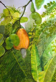 "Saatchi Art Artist shaji panthayil; Painting, ""A Cashew  Nut"" #art"