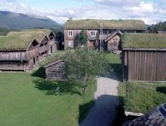 traditional houses with turf roofs by dolores