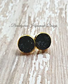 Druzy Earrings, 12 mm Druzy, Druzy Studs, Black Earrings, Natural Color Druzy Earrings, Affordable Jewelry, Earth Jewelry by BrandywineHD on Etsy