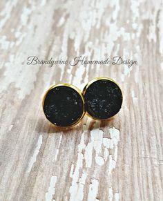 Druzy Earrings, 12 mm Druzy, Druzy Studs, Black Earrings, Natural Color Druzy Earrings, Affordable Jewelry, Earth Jewelry by BrandywineHD on Etsy
