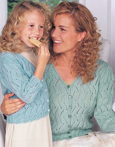 Free Knitting Pattern for Pretty Lace Cardigan in Adult and Child Sizes - Great as mom and me pattern or just for a single project. This light lace cardigan sweater comes in sizes for children 4, 6, and 8 years and adult S to XL.