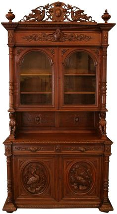 EuroLux Home - 1880 Antique French Hunting Buffet, Carved oak birds, dogs. Just arrived on our container of antiques from France! http://www.euroluxhome.com/products/1880-french-hunting-buffet-renaissance-oak-carved-birds-dogs-glass-doors.html)