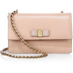 Salvatore Ferragamo Women's Ginny Saffiano Leather Shoulder Bag - Bon... (4,515 ILS) ❤ liked on Polyvore featuring bags, handbags, shoulder bags, apparel & accessories, bon bon, mini handbags, bow handbags, pink purse, salvatore ferragamo shoulder bag and pink handbags