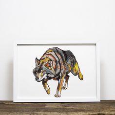 Framed 'Wolf Walk' Print - From Wolf Sleeve, Limited Edition Prints, Moose Art, Lion Sculpture, Statue, Wall Art, A3, Artwork, Sketch