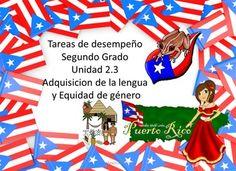 Tareas de desempeo Unidad 2.3 Adquisicin de la lengua y Equidad de gneroEsta unidad no tenia actividades relacionadas con Meta NAcional50 pginas de trabajoActividades de grupos consonnticosAdverbiosAdjetivosPrimeros pobladoresCostumbres y tradicionesCreacin de prrafosElementos del cuento, leyendaPersonajesCreacin de la bandera de Puerto Rico5 planes semanalescuentosEl set de videos de las actividades lo puse en zip folder en mi grupo Educative Teaching.