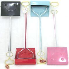 Retro Long Handled Metal Dustpan & Brush Set Red Pink Blue Black Smiley Face