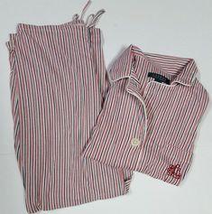Lauren Ralph Lauren Size Small 2 Pc Pajama Set Red Black Stripe Shirt Pants #LaurenRalphLauren #PajamaSets #Everyday