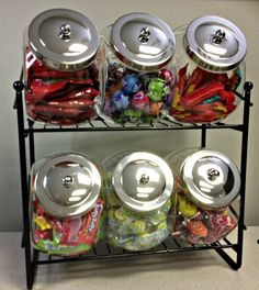 Liven up your counter with a penny candy 6 jar rack. Black modern rack and nostalgic penny candy jars combine for a unique look for your retail store. Candy Store Display, Acrylic Containers, Candy Containers, Storage Containers, Snack Station, Snack Bar, Movie Theater Rooms, Theater Room Decor, Hangout Room