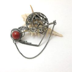 Sinthel   silver wire wrapped heart brooch with by MadeBySunflower, $125.00
