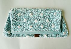 """☛SOLD at paroliro on ETSY to Amsterdam, The Netherlands: vintage 1950s mid century retro pale blue moire silk clutch with hand sewn white glass serpentine floral pattern beadwork.   Perfect """"something blue"""" for a bride, bridesmaid or formal occasion.☚  Recycled and Eco Friendly fashion accessory statement."""