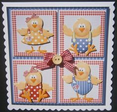 The hen family card with toppers and decoupage on Craftsuprint designed by Angela Wake - made by Davina Rundle -