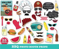 BBQ Photo Booth Props, BBQ party, BaByQ Shower, BBQ Wedding, BBQ Shower - Printable DIY PDF kit - 35 Photo Props (includes 2 editable speech bubbles & prop sign) $6.99