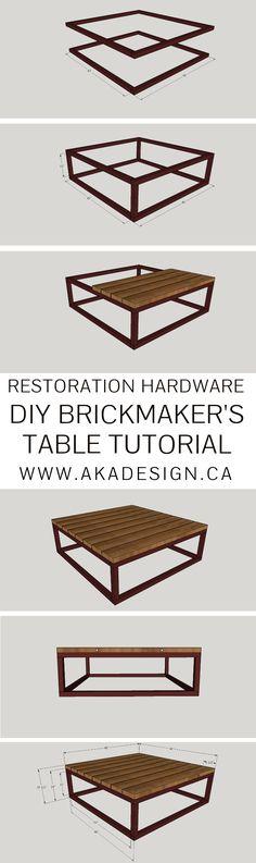 RESTORATION HARDWARE DIY BRICKMAKER'S TABLE TUTORIAL | WWW.AKADESIGN.CA