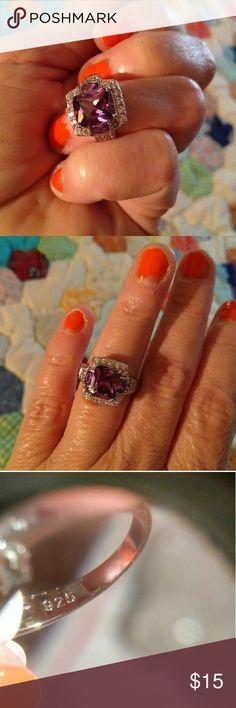 Sterling Silver Amethyst CZ ring sz 8 Brilliant beautiful Amethyst SS ring sz 8 Jewelry Rings