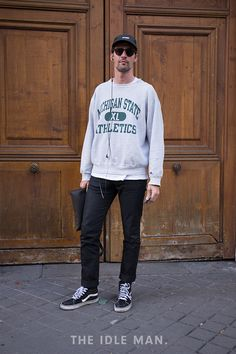 Men's Street Style | Sweater and Sneakers - It's possibly one of the comfiest items of clothing you could own, and when paired with jeans a sweatshirt makes the outfit look completely effortless. | Shop this chilled look at The Idle Man