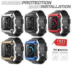 Apple Watch Case, SUPCASE [Unicorn Beetle Pro] Rugged Protective Case with Strap Bands for Apple Watch / Watch Sport / Watch Edition [38 mm or 42 mm]. Rugged design to provide ultimate protection from bumps and scratches for your Apple Watch. | eBay!