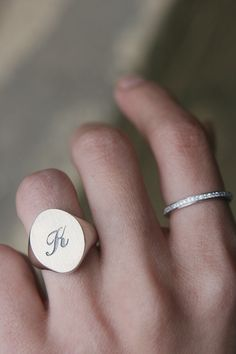 Sterling Silver Oval Initial Signet Ring from Kellinsilver.com – Custom Engraved Signet Rings