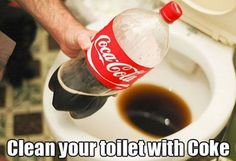 Coca cola for cleaning my toilet! Just imagine what it does to our insides! Previous Pinner said: Cleaning your toilet with coca cola will get out the nastiest stains! Also used Coke for cleaning soot off of the fireplace heat box, or outdoor grill. Diy Cleaning Products, Cleaning Solutions, Cleaning Hacks, Coke Cleaning, Cleaning Agent, Cleaning Supplies, Toilet Cleaning, Cleaning Rust, Grill Cleaning