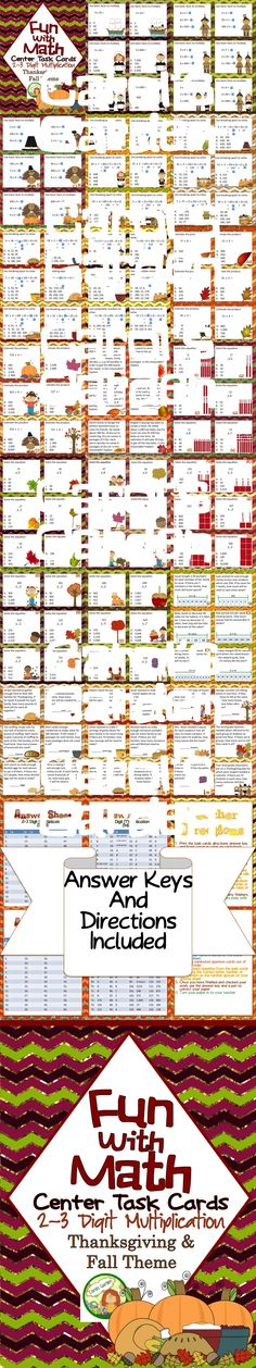 Math center task cards for two and three digit multiplication. Fall and Thanksgiving theme $