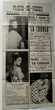 CARTEL ORIGINAL PLAZA TOROS DE PALMA 1958, LA CHUNGA (BAILAORA)
