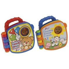 The Fisher Price Learning Book Assortment is a set of two learning books that features a shapes & colors book and a numbers & animals book.