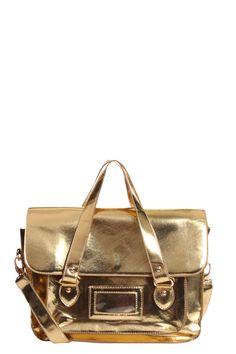 The gold satchel #metallic boohoo.com