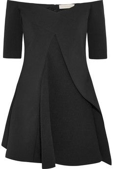 Stella McCartney Sabrina off-the-shoulder stretch-wool and crepe top | NET-A-PORTER