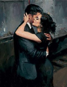 Fabian Perez collection the train station vii- fabian perez ~ i'm OBSESSED with the way he captures emotion. and the colors he uses ugh so freaking beautiful Art And Illustration, Illustrations, Romantic Paintings, Beautiful Paintings, Romantic Artwork, Art Sketches, Art Drawings, Fabian Perez, Romance Art