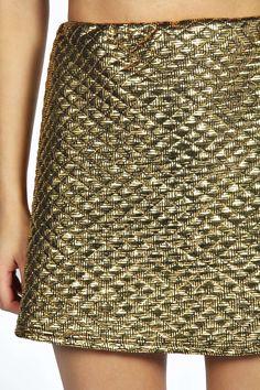 Ellie Metallic Quilted A-Line Skirt alternative image