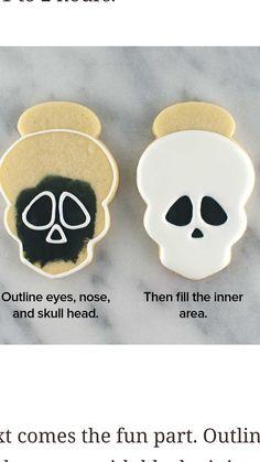 Halloween skull cookies - Baby Stuff and Crafts Halloween Donuts, Halloween Desserts, Halloween Cookies Decorated, Halloween Sugar Cookies, Halloween Skull, Decorated Cookies, Diy Halloween, Halloween Treats, Halloween Decorations